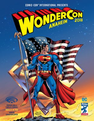 2018 Wondercon program with Superman artwork cover by Dan Jurgens