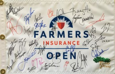 2019 Farmers Insurance Open autographed golf pin flag (Tiger Woods Hideki Matsuyama Justin Rose Adam Scott)