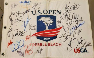 2019 U.S. Open autographed embroidered golf pin flag Dustin Johnson Brooks Koepka Rory McIlroy Phil Mickelson Jordan Spieth Gary Woodland