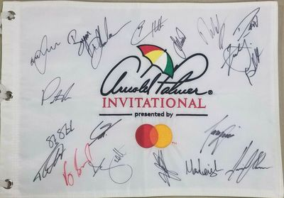 2020 Arnold Palmer Invitational autographed embroidered golf pin flag (Brooks Koepka Patrick Reed Adam Scott)