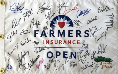 2020 Farmers Insurance Open autographed golf pin flag (Tiger Woods Jordan Spieth Justin Rose Patrick Reed)