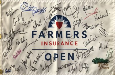 2020 Farmers Insurance Open autographed golf pin flag (Tiger Woods Collin Morikawa Patrick Reed Jordan Spieth)