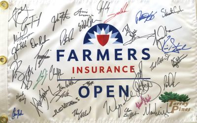 2020 Farmers Insurance Open autographed golf pin flag (Tiger Woods Rory McIlroy Jordan Spieth)