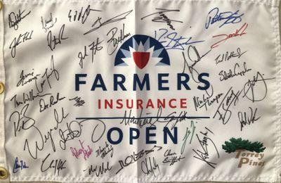 2020 Farmers Insurance Open autographed golf pin flag (Tiger Woods Rory McIlroy Jon Rahm Patrick Reed)