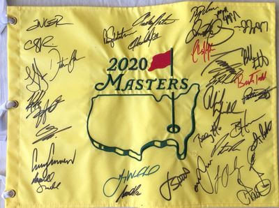 2020 Masters autographed golf pin flag (Dustin Johnson Rory McIlroy Phil Mickelson Jordan Spieth Bubba Watson)