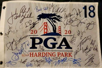 2020 PGA Championship autographed embroidered golf pin flag Collin Morikawa Dustin Johnson Brooks Koepka Rory McIlroy Phil Mickelson Jordan Spieth Bubba Watson