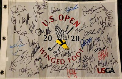 2020 U.S. Open autographed embroidered golf pin flag Bryson DeChambeau Dustin Johnson Rory McIlroy Phil Mickelson Justin Thomas