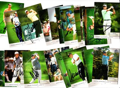 20 autographed 2004 SP Signature PGA Tour golf cards Justin Leonard Mark O'Meara Nick Price Craig Stadler David Toms