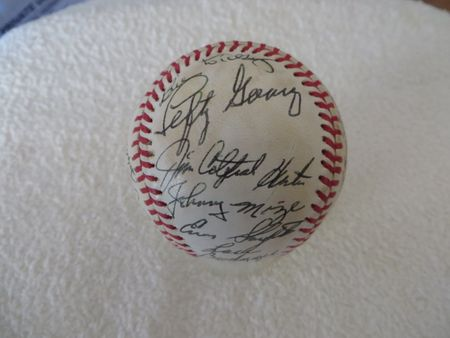 25 Hall of Famers autographed NL baseball Ted Williams Ernie Banks Bill Dickey Lefty Gomez Stan Musial Pee Wee Reese JSA