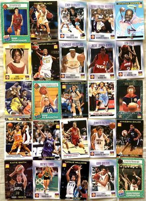 Lot of 25 different 1989 to 2011 women's college basketball and WNBA Sports Illustrated for Kids cards