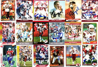 27 Arizona Cardinals autographed cards (Rich Camarillo Ken Harvey Luis Sharpe)