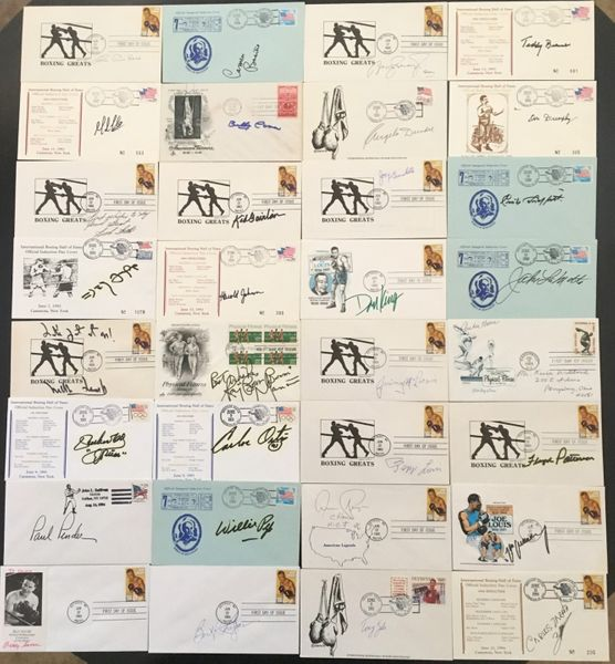 32 boxing Hall of Famers autographed cachet First Day Covers (Jake LaMotta Archie Moore Floyd Patterson Willie Pep Aaron Pryor Max Schmeling)