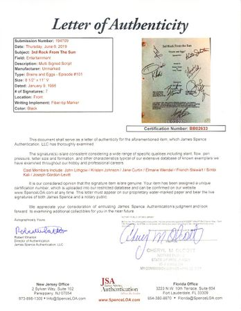 3rd Rock from the Sun cast autographed script John Lithgow Kristen Johnston French Stewart Jane Curtin (JSA)
