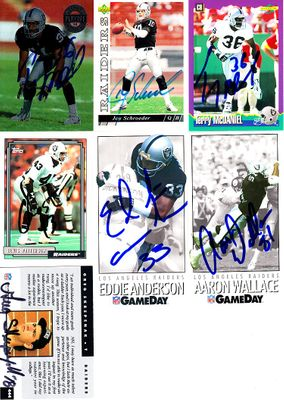 7 Oakland Raiders autographed 1990s cards (Terry McDaniel Jay Schroeder)