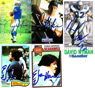 5 Seattle Seahawks autographed cards (Efren Herrera Rick Mirer Dave Wyman)