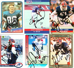 6 Buffalo Bills autographed cards (Pete Metzelaars Jim Ritcher)