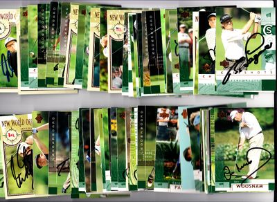 81 autographed 2002 Upper Deck PGA Tour golf cards Gary Player Retief Goosen Bernhard Langer Mark O'Meara Nick Price Curtis Strange