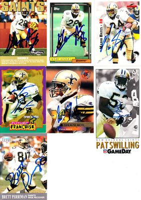7 New Orleans Saints autographed 1990s cards (Gene Atkins Mario Bates Lorenzo Neal Pat Swilling)