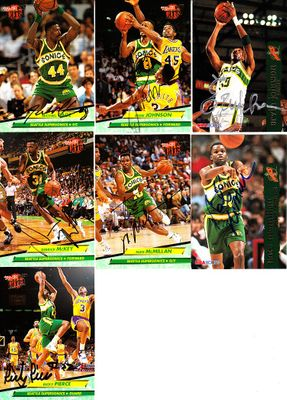 7 Seattle Supersonics autographed 1990s cards (Derrick McKey Nate McMillan Ricky Pierce)