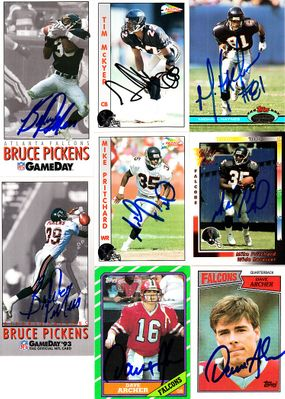 8 Atlanta Falcons autographed cards (Michael Haynes Tim McKyer Mike Pritchard)