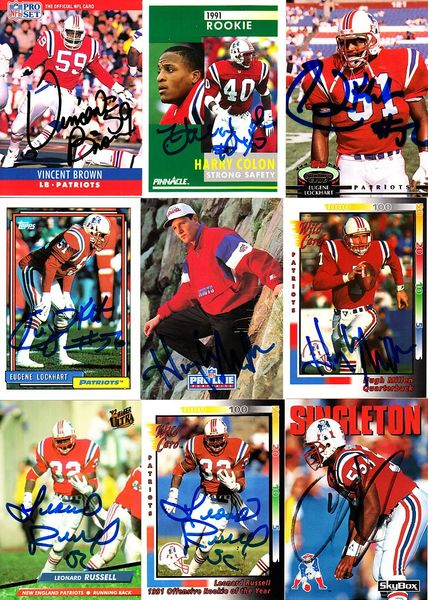 9 New England Patriots autographed 1990s cards (Vincent Brown Leonard Russell)