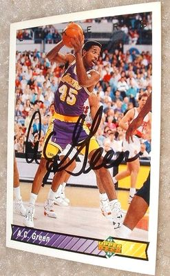 A.C. Green autographed Los Angeles Lakers 1992-93 Upper Deck card