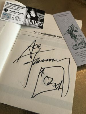 Ace Frehley (KISS) autographed No Regrets first edition hardcover book