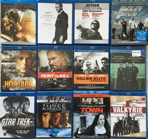 Lot of 16 action movies on 12 Blu-ray DVDs (Hostage Star Trek The Town Valkyrie)