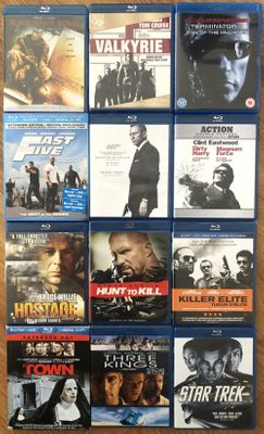Lot of 15 action movies on 12 Blu-ray DVDs (Casino Royale Dirty Harry Fast 5 Star Trek Terminator 3 The Town Valkyrie)