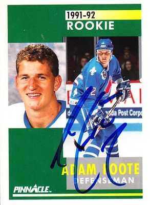 Adam Foote autographed Quebec Nordiques 1991-92 Pinnacle Rookie Card