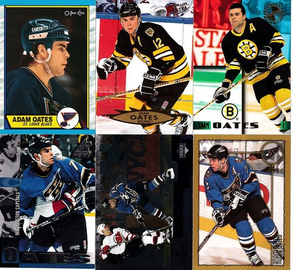 Adam Oates lot of 6 cards 1989-90 O-Pee-Chee 1995 Stadium Club Members Only