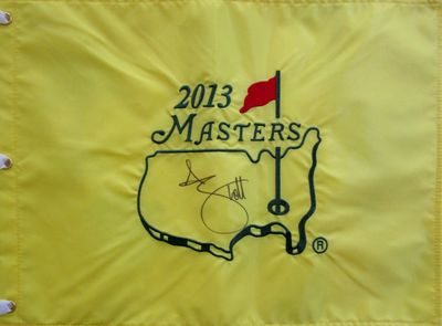 Adam Scott autographed 2013 Masters golf pin flag