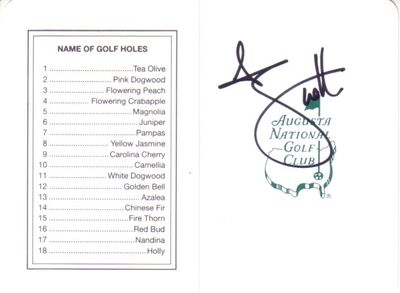 Adam Scott autographed Augusta National Masters scorecard