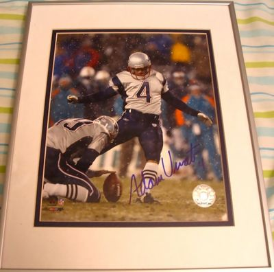 Adam Vinatieri autographed New England Patriots 8x10 photo matted and framed