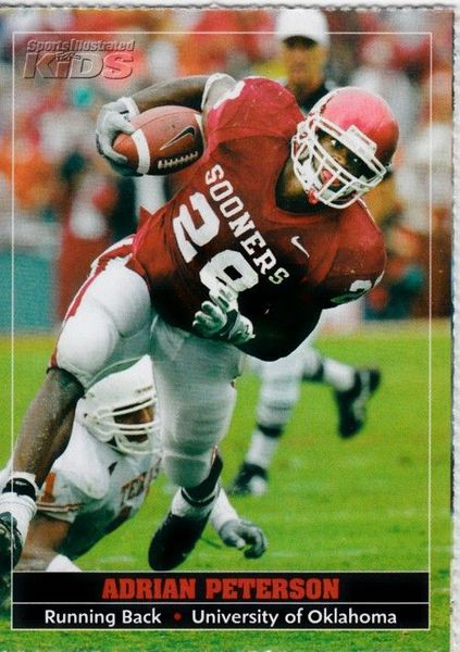 Adrian Peterson Oklahoma Sooners 2005 Sports Illustrated for Kids Rookie Card