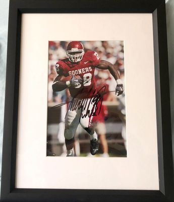 Adrian Peterson autographed Oklahoma Sooners photo matted and framed