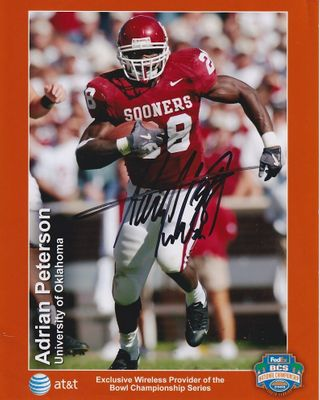 Adrian Peterson autographed Oklahoma Sooners 8x10 promotional photo
