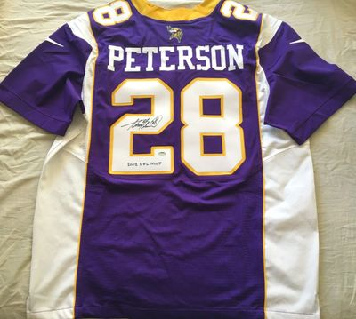 Adrian Peterson autographed Minnesota Vikings authentic Nike purple game model jersey inscribed 2012 NFL MVP (Schwartz)