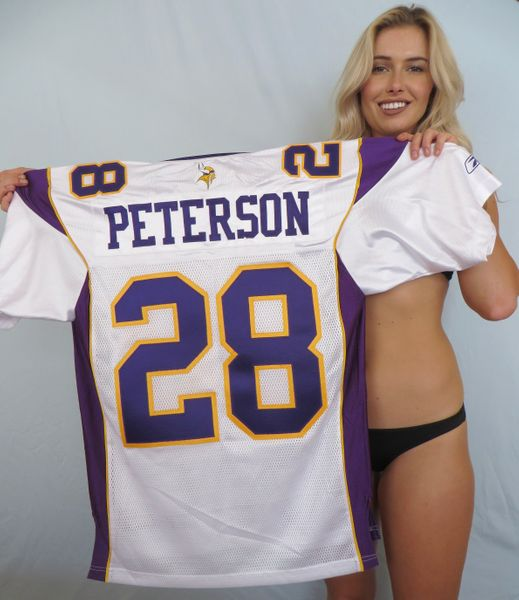 Adrian Peterson Minnesota Vikings authentic Reebok white stitched jersey (2006 to 2011 style)