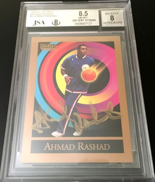 Ahmad Rashad autographed 1990-91 SkyBox Broadcasters card JSA authenticated (BGS graded 8.5 and slabbed)