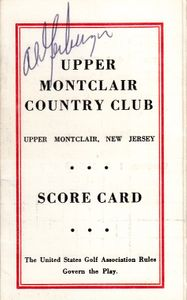 Al Geiberger autographed Upper Montclair Country Club 1960s golf scorecard