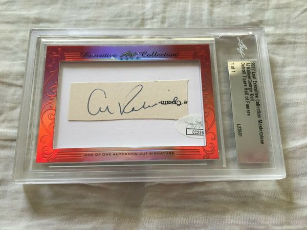 Al Kaline and George Kell 2017 Leaf Masterpiece Cut Signature certified autograph card 1/1 JSA