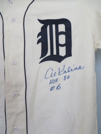 Al Kaline autographed Detroit Tigers 1968 Mitchell and Ness authentic throwback jersey inscribed HOF 80 #6