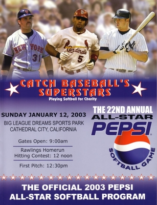 Albert Pujols Mike Piazza Jason Giambi 2003 Pepsi All-Star Softball program
