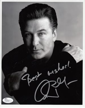 Alec Baldwin autographed 8x10 black & white portrait photo inscribed Best wishes! (JSA)