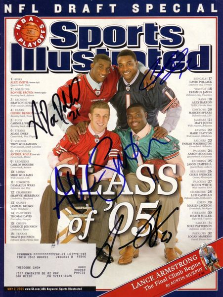 Alex Smith Ronnie Brown Cedric Benson Antrel Rolle autographed 2005 NFL Draft Sports Illustrated