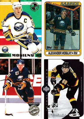 Alexander Mogilny 1990-91 Topps RC, 1991-92 Pro Set Platinum, 1995 Stadium Club Members Only & 1995-96 UD Be A Player Lethal Lines