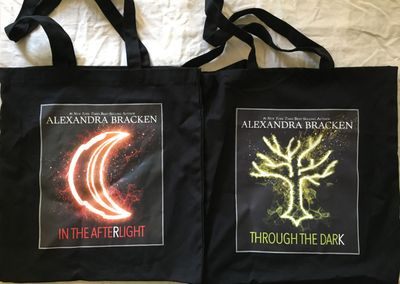 Alexandra Bracken In the Afterlight & Through the Dark 2018 Comic-Con black book bag set