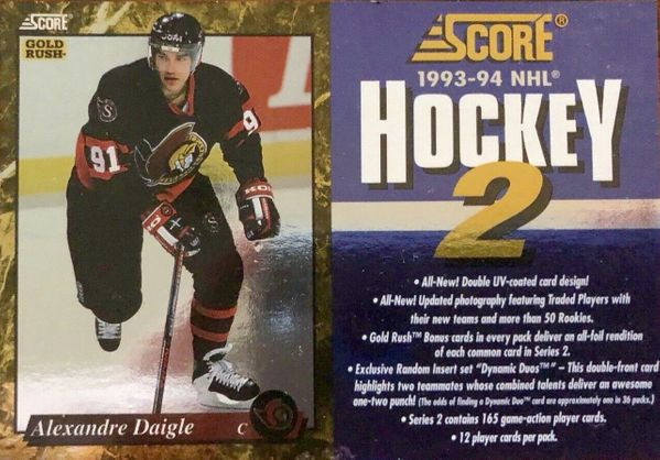 Alexandre Daigle Ottawa Senators 1993-94 Score NHL Hockey promo card panel