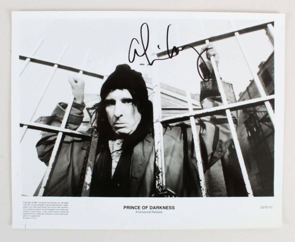 Alice Cooper autographed Prince of Darkness 8x10 black and white promotional photo
